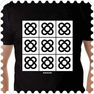 Camiseta negra Panot, Barcelona flower design made in Barcelona, icon, cool, unisex