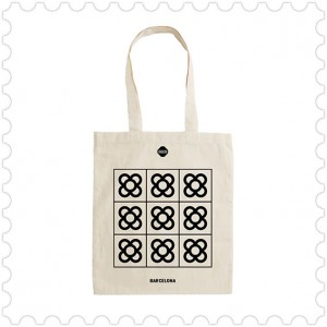 Totebag bag unbleached cotton Barcdelona Panot or flower design made in Barcelona, modernist, Puig
