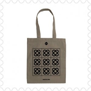 Bolsa algodón gris Panot o Flor de Barcelona, modernist, Puig design made in Barcelona