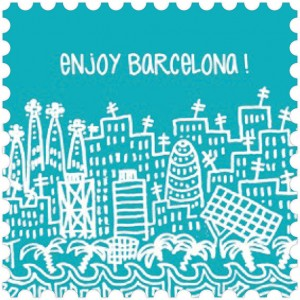 Toalla de microfibra Barcelona Turquesa diseño made in Barcelona