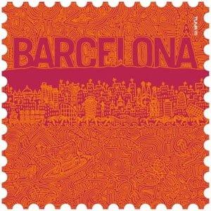 Toalla de microfibra Barcelona naranja/granate diseño made in Barcelona