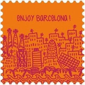 Toalla de microfibra Barcelona Naranja/Granate made in Barcelona