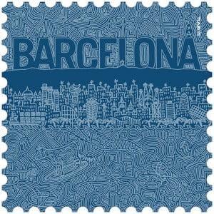 Toalla de microfibra Barcelona azules diseño made in Barcelona