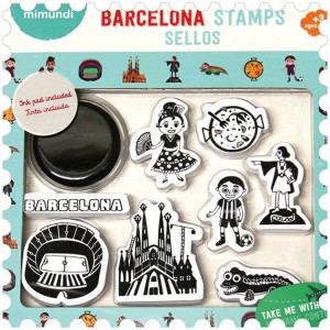 Barcelona stamp set design made in Barcelona Sagrada Familia Gaudi dragon paella Colon Barcelona Nou Camp