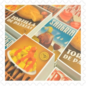 Postcards graphic design typical recipes made in Barcelona souvenir