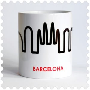 Barcelona Skyline cup design made in Barcelona souvenir